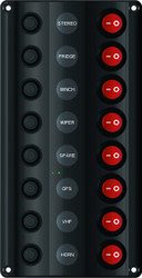 Wave Design Switch Panel with Circuit Breaker - 8 Switches