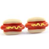 Funky Mini Mustard Hotdog Earrings