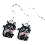 Funky Glitter Black Cat Earrings