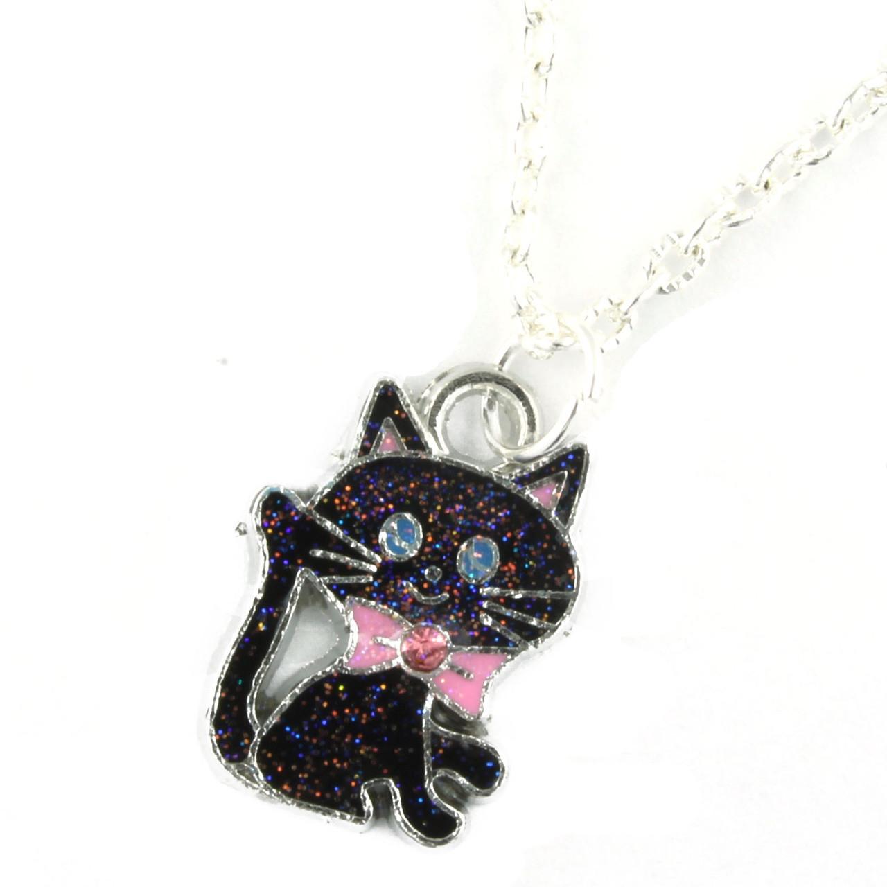 Funky Black Cat Kitten Necklace
