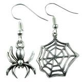 SILVER SPIDER & WEB Dangle Earrings