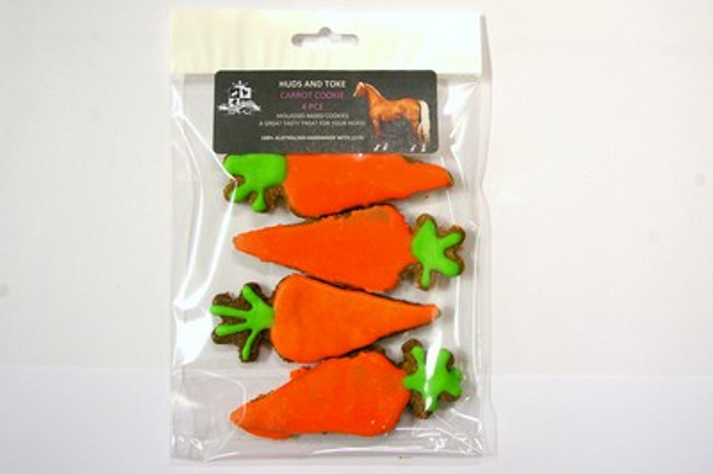 Carrot Horse Cookies 4pce - Horse Training Treats by Huds and Toke.  The original Australian Horse Treat Company.