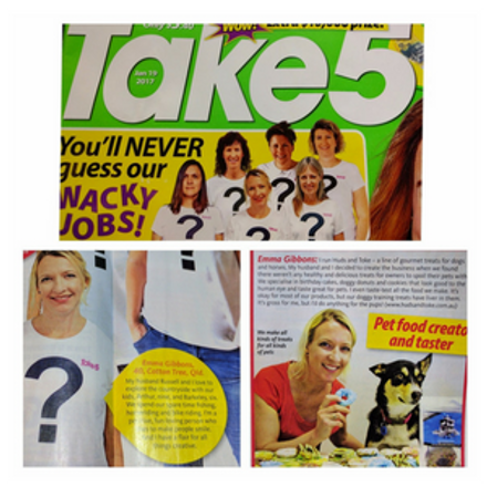 Huds and Toke Pet Treats in Take 5 Magazine