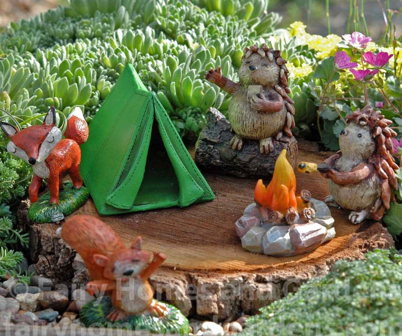 camping critters fairy garden set