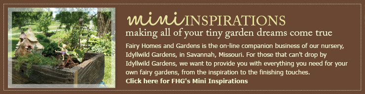 Fairy Homes and Gardens is the on-line companion business of our nursery, Idyllwild Gardens, in Savannah, Missouri. For those that can't drop by Idyllwild Gardens, we want to provide you with everything you need for your own fairy gardens, from the inspiration to the finishing touches. Click here for FHG's Mini Inspirations