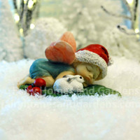 Christmas Fairy Baby Sleeping with Tiny Bunny