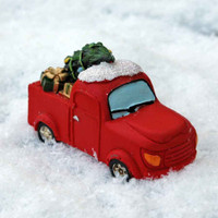 Miniature Red Christmas Truck