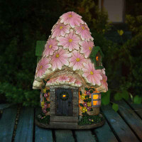 Large Spring Petals Solar Fairy House at Night
