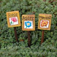 Miniature Flower Markers - Set of Three