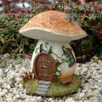 Miniature Mushroom House with Pink Morning Glories