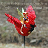 Fairy Flying on a Cardinal Garden Stake