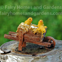 Miniature Hatching Chicks in a Wheel Barrow