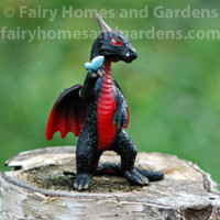 Miniature Top Collection Black Dragon with  Butterfly