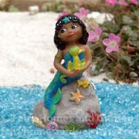"""Miniature Dark-Skinned Mermaid """"Millie""""."""