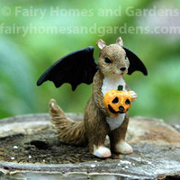 Miniature Halloween Squirrel With Bat Wings Costume