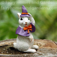 Miniature Bunny in a Witch Costume