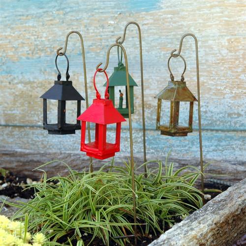 Miniature Garden Lanterns On A Wire Hook.