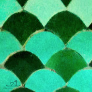 "SCALLOPS FOREST GREEN (2"") MOSAIC TILES"