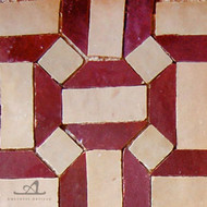 GEO HEX RED & BEIGE MOSAIC TILE