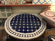 SMALL BLUE & WHITE CUIRA CAB ROUND TABLE