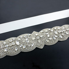 GIAVAN Bridal Sash with Detailed Crystal Applique BL34