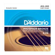 D'Addario EJ16 Acous Phos Bronze .012-.053 Light