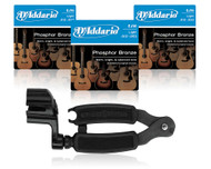 D'Addario Phosphor Bronze Acoustic Guitar Strings 3-Pack with Pro-Winder String Winder/Cutter