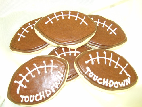 Our famous and delicious butter cookies are simply irresistible.  Football cookies!  Use as party favors for a sports themed birthday!  These are great for football teams, fundraisers, school functions and more!