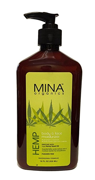 Mina Organics Hemp Body & Face Moisturizer, 18 oz