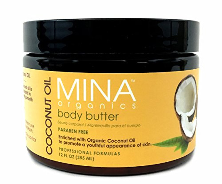 Mina Organics Coconut Oil Body Butter, 12 oz