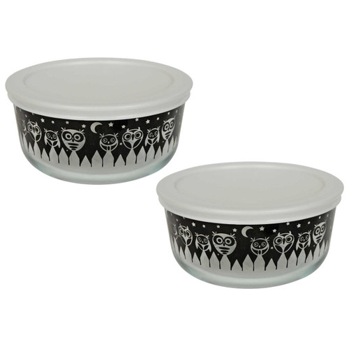(2) Pyrex 7201 4 Cup Black Owl Glass Bowls w/ (2) 7201-PC White Lids