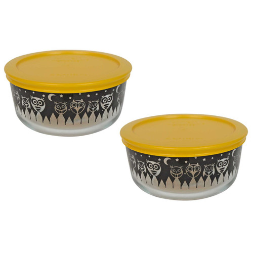 Pyrex 7201 4 Cup Black Owl Glass Bowl w/ 7201-PC Yellow Lid (2-Pack)