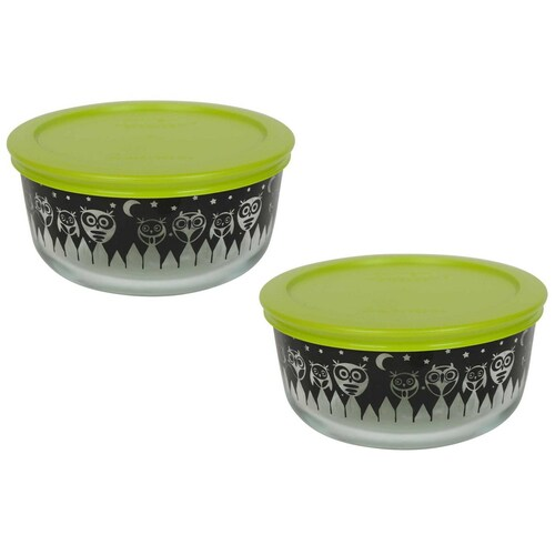 (2) Pyrex 7201 4 Cup Black Owl Glass Bowls w/ (2) 7201-PC Green Lids