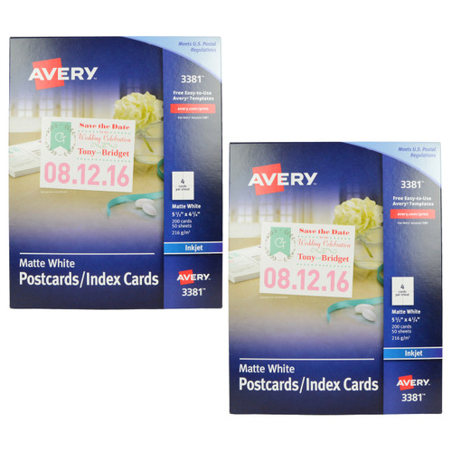 Printing On Index Cards: Avery 3381 Inkjet Postcard / Index Cards Bundle Office Items