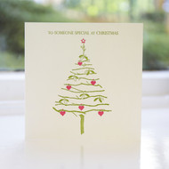 Mistletoe & Hearts Letterpress Christmas Card