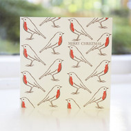 Robin Repeat Letterpress Christmas Card