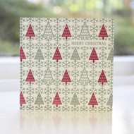 Fairisle Trees Letterpress Christmas Card