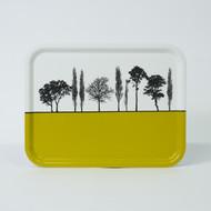 Mustard British landscape birch wood and melamine tray by designer Jacky Al-Samarraie