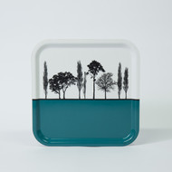 Teal British landscape birch wood and melamine tray by designer Jacky Al-Samarraie