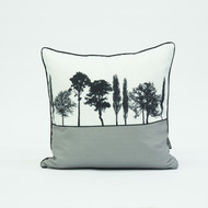 British landscape cushion in grey by designer Jacky Al-Samarraie