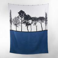 Woven cotton British landscape throw in blue by designer Jacky Al-Samarraie
