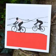 Red Polka Dot Jersey Cycling Greeting Card