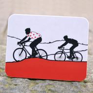 Jacky Al-Samarraie Red Polka Dot Jersey Cycling Coaster