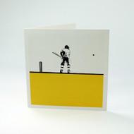 Cricketer greeting card by Jacky Al-Samarraie