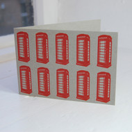 Red Telephone Boxes Letterpress Greeting Card