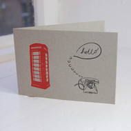 Red Telephone Box Letterpress Greeting Card