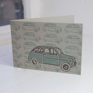 Fiat 500 Letterpress Greeting Card