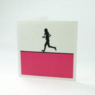 Female runner greeting card by Jacky Al-Samarraie