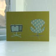 Jacky Al-Samarraie Swan Chair & TV Greeting Card