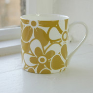 Jacky Al-Samarraie Floral Bone China Mug - Ochre - Discontinued
